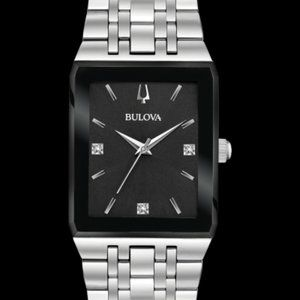 Bulova Men's Quadra Stainless Steel Diamond Watch